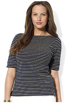 Lauren Ralph Lauren Plus Size Cotton Boatneck Striped Top