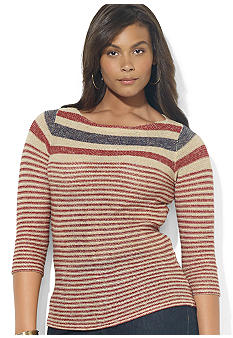 Lauren Ralph Lauren Plus Size Striped Linen Boatneck Sweater