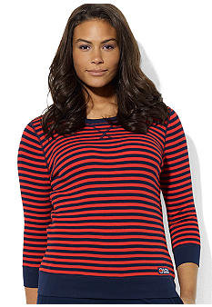 Lauren Ralph Lauren Plus Size Three-Quarter-Sleeved Striped Waffle-Knit Cotton Hoodie