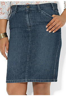 Lauren Ralph Lauren Plus Size Straight Denim Skirt