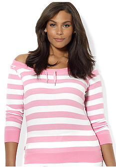 Lauren Ralph Lauren Plus Size Striped Waffle Knit Tee