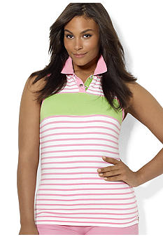Lauren Ralph Lauren Plus Size Striped Sleeveless Polo