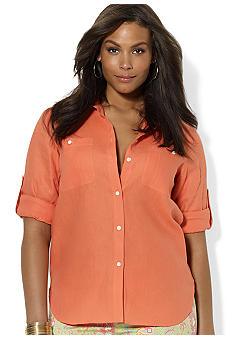 Lauren Ralph Lauren Plus Size Linen Roll-Sleeved Shirt