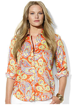 Lauren Ralph Lauren Plus Size Three-Quarter-Sleeved Floral Cotton Voile Shirt