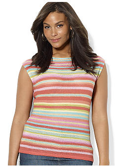 Lauren Ralph Lauren Plus Size Striped Linen Boatneck Top