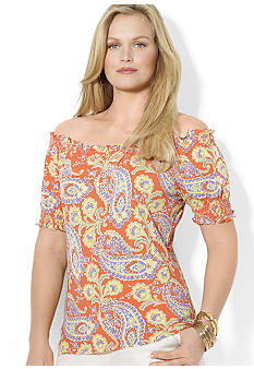 Lauren Ralph Lauren Plus Size Short-Sleeved Smock Top