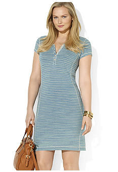 Lauren Ralph Lauren Plus Size Striped Cotton Chambray Dress