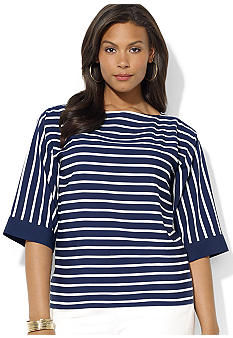 Lauren Ralph Lauren Plus Size Striped Boatneck Top