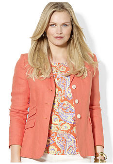 Lauren Ralph Lauren Plus Size Three-Button Linen Blazer