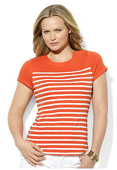 Lauren Ralph Lauren Plus Size Striped Cotton Crewneck Tee