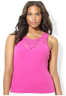 Lauren Ralph Lauren Plus Size Lace Cotton Tank