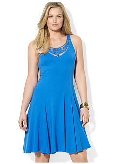 Lauren Ralph Lauren Plus Size Lace Cotton Scoopneck Dress
