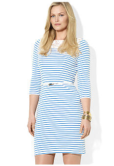 Lauren Ralph Lauren Plus Size Striped Lace Cotton Dress