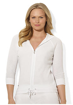 Lauren Ralph Lauren Plus Size Terry Cotton Hooded Top