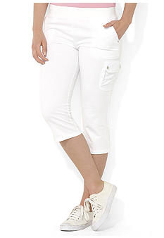 Lauren Ralph Lauren Plus Size French Terry Cropped Cargo Pant
