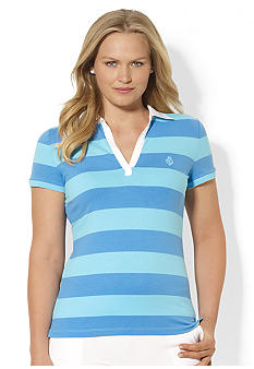 Lauren Ralph Lauren Plus Size Striped Embroidered Polo