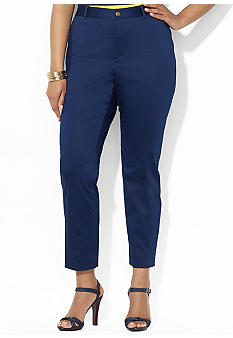 Lauren Ralph Lauren Plus Size Cropped Cotton-Sateen Pant