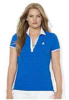 Lauren Ralph Lauren Plus Size Contrast-Trimmed Cotton Polo