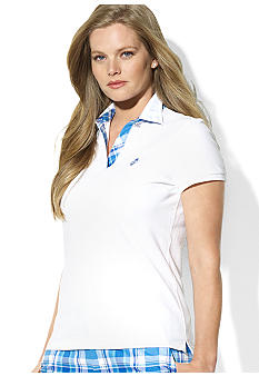Lauren Ralph Lauren Plus Size Collared Split-Neck Polo