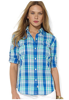 Lauren Ralph Lauren Plus Size Roll-Sleeve Plaid Workshirt