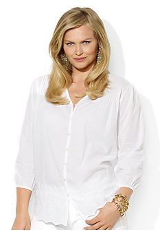 Lauren Ralph Lauren Plus Size V-Neck Lace Cotton Top