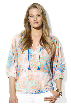 Lauren Ralph Lauren Plus Size Paisley Scoop Neck Top