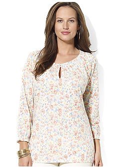 Lauren Ralph Lauren Plus Size Floral Cotton Peasant Tee