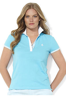 Lauren Ralph Lauren Plus Size Contrast Collared Split-Neck Polo