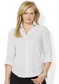 Lauren Ralph Lauren Plus Size Polka-Dot Cotton Shirt