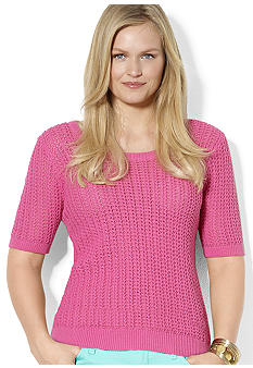 Lauren Ralph Lauren Plus Size Combed Cotton Scoopneck Sweater
