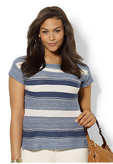 Lauren Ralph Lauren Plus Size Striped Cotton and Linen Top