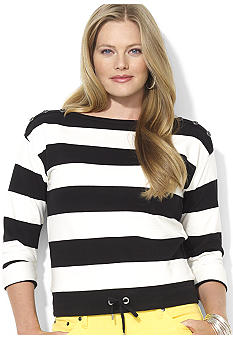 Lauren Ralph Lauren Plus Size Striped French Terry Pullover