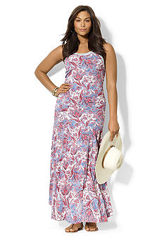 Lauren Ralph Lauren Plus Size Paisley Scoopneck Maxi Dress