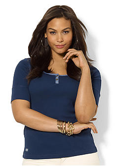 Lauren Ralph Lauren Plus Size Ribbed Cotton Scoopneck Top