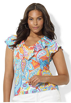 Lauren Ralph Lauren Plus Size Ruffled Paisley Cotton Tee