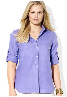 Lauren Ralph Lauren Plus Size Cotton-Blended Workshirt