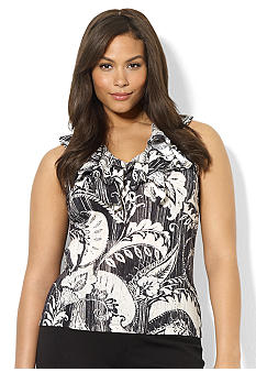 Lauren Ralph Lauren Plus Size Ruffled V-Neck Top