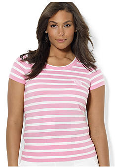Lauren Ralph Lauren Plus Size Striped Scoopneck Tee