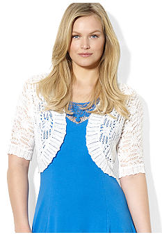 Lauren Ralph Lauren Plus Size Pointelle-Knit Linen Shrug