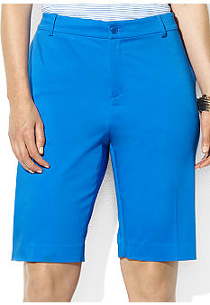 Lauren Ralph Lauren Plus Size Slimming-Fit Stretch Sateen Bermuda Short