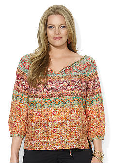 Lauren Ralph Lauren Plus Size Cotton Peasant Blouse