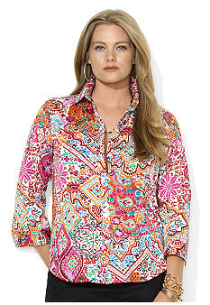 Lauren Ralph Lauren Plus Size Three-Quarter-Sleeved Printed Button Down Shirt