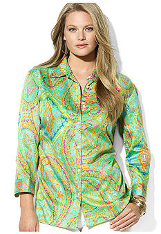 Lauren Ralph Lauren Plus Size Three-Quarter-Sleeved Paisley Cotton Voile Shirt