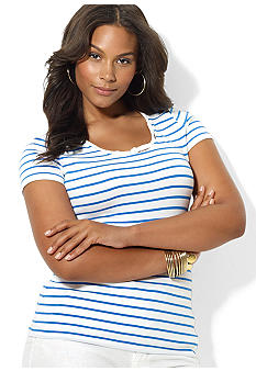 Lauren Ralph Lauren Plus Size Striped Cotton Scoopneck Top