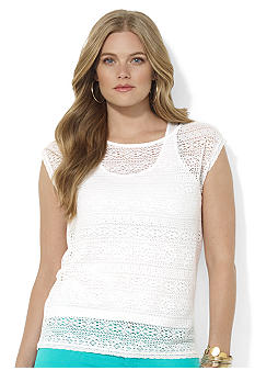Lauren Ralph Lauren Plus Size Crocheted Boatneck Top