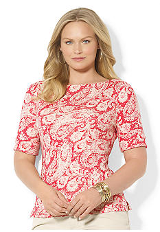 Lauren Ralph Lauren Plus Size Cotton Paisley Boatneck Top