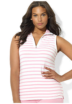 Lauren Ralph Lauren Plus Size Sleeveless Half-Zip Mockneck Top