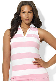 Lauren Ralph Lauren Plus Size Sleeveless Split-Neck Polo