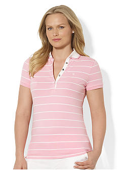 Lauren Ralph Lauren Plus Size Striped Stretch-Cotton Polo Shirt