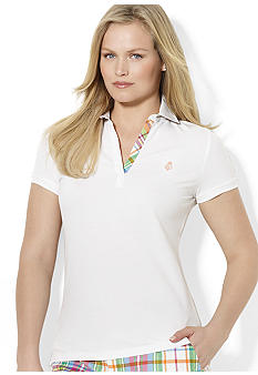 Lauren Ralph Lauren Plus Size Plaid Embroidered Polo